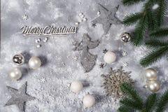 Do Natal vida ainda Brinquedos de prata e ornamento decorativos do Natal Imagem de Stock Royalty Free