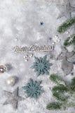 Do Natal vida ainda Brinquedos de prata e ornamento decorativos do Natal Foto de Stock