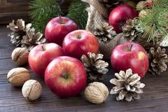 Do Natal vida ainda com maçãs e cones do pinho Imagens de Stock