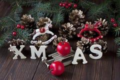 Do Natal vida ainda com símbolos brilhantes Fotografia de Stock Royalty Free