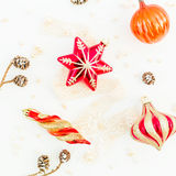 Do Natal vida ainda Configuração lisa Vista superior Fotografia de Stock Royalty Free