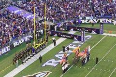 Do NFL do futebol festividades do jogo pre Fotografia de Stock