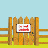 Do no disturb. Cartoon style illustration of a wooden gate and fence with Do Not Disturb sign posted Stock Photo