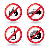 Do not allowed, set of symbols Stock Photos
