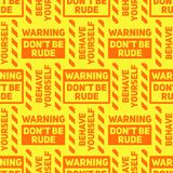 Do not be rude seamless pattern Stock Images