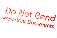 Do Not Bend Stamp Stock Images