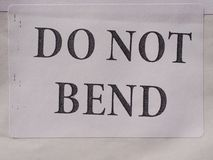 Do not bend Stock Image
