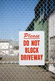 Do Not BLock Driveway Royalty Free Stock Photo