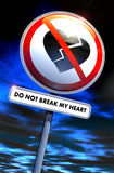 Do not break my heart. Road sign with broken heart and text Stock Images