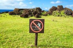 Do Not Climb on Moai Sign Royalty Free Stock Photo