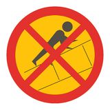 Do not climb up on outside of slide sign Stock Photography