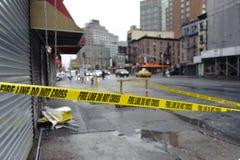 Do not cross. Lower manhattan street after super storm Sandy Royalty Free Stock Image