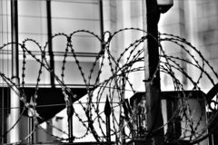 Do not cross, military area. Barbed wire. royalty free stock images