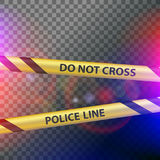 Do not cross police line. Crime scene. Do not cross police line. Yellow striped warning tape. Stock  illustration Stock Images