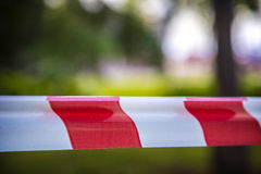 Do not cross red white line Royalty Free Stock Image