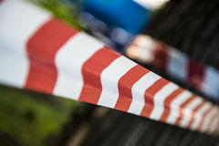 Do not cross red white line Stock Photography