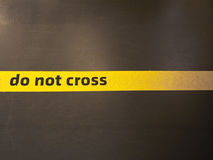 Do not cross sign. Do not trespass this line stock image