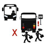 Do not cross the street behind the bus  graphic style educational poster. Great quality work. On this picture you can see some high quality and resolution Royalty Free Stock Photos
