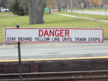 Do not cross yellow line Royalty Free Stock Photos