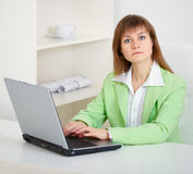 Do not distract woman from work! Stock Image