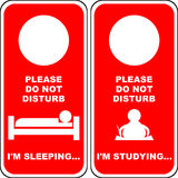 """Do not Disturb [1]. Illustration of a """"Do not disturb"""" card in two variations, sleeping and studying. You can cut out and use them for your bedroom knob Royalty Free Stock Image"""