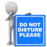 Do not disturb. Please words on a blue banner held up on the floor by a little 3d man putting finger on his mouth Stock Image