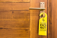 Do not disturb sign on doorknob Royalty Free Stock Image