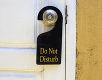 Do not disturb sign hang on door knob Royalty Free Stock Images