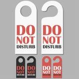Do Not Disturb signs set. Hotel doors badge. Vector. stock illustration