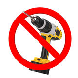 Do not Drill Sign. Yellow Rechargeable and Cordless Drill in Pro Stock Photos