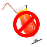Do Not Drink Concept. Glass with Coctail and Prohibit Sign. 3d R Stock Photo