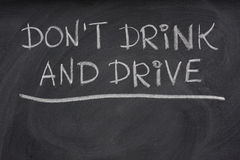 Do not drink and drive warning  on a blackboard Royalty Free Stock Photo