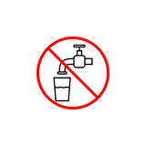 Do not drink water line icon, prohibition sign. Forbidden not drinkable, vector graphics, a linear pattern red on a white background, eps 10 vector illustration