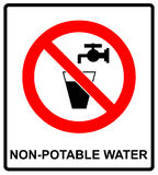 Do not drink water prohibition sign. vector illustration Stock Images