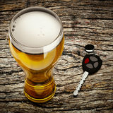 Do not Drive Drunk. 3d beer and car keys on the table background Royalty Free Stock Photos