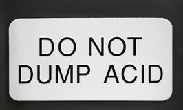 Do Not Dump Acid Sign.  Royalty Free Stock Image