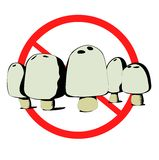 Do Not Eat. Group of 5 poisonous mushrooms with a banned symbol behind them Royalty Free Stock Images