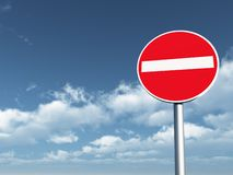 Do not enter. Roadsign under cloudy blue sky - 3d illustration Stock Photography