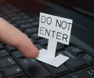 Do Not Enter. Keyboard close-up with Do Not Enter sign Stock Photo