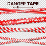 Do Not Enter, Danger. Security Quarantine Red And White Tapes.  On Transparent Background. Vector Illustration Royalty Free Stock Image
