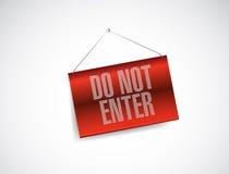 Do not enter hanging banner illustration Royalty Free Stock Photos