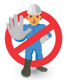 Do Not Enter _Keep Out Sign. Construction Worker showing stop gesture. Vector illustration Royalty Free Stock Photo