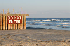 Do Not Enter sign. On the beach Stock Photos