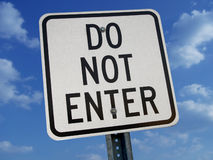 Do Not Enter Sign Against Blue Sky. With clouds Royalty Free Stock Images