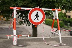 Do not enter sign barricade. Do not enter sign barricade built on the road during stairs brige reconstruction. Slovakia royalty free stock image