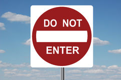 Do Not Enter Sign with clouds. Do Not Enter traffic sign with clouds in the background Stock Images