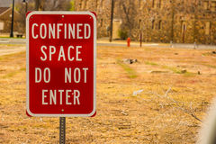 Do Not Enter Sign. Confined Space, Do Not Enter Sign On Large Vacant Lot royalty free stock images