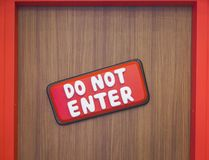 Do not enter sign. DO NOT ENTER or restriction area in the door with cartoon look and feel. Sign for children bedroom royalty free stock image