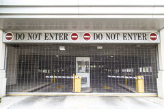 Do not enter sign at the exit of a car park Royalty Free Stock Photos