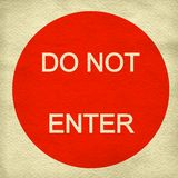 Do not enter sign on paper background Stock Photo